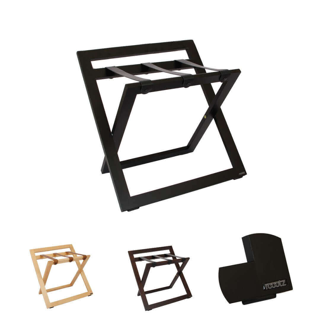 roootz hotel luggage rack with stand and black leather straps