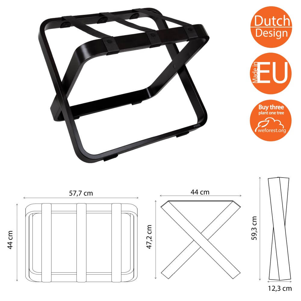 Roootz Curvy Luggage Racks for hotels in black